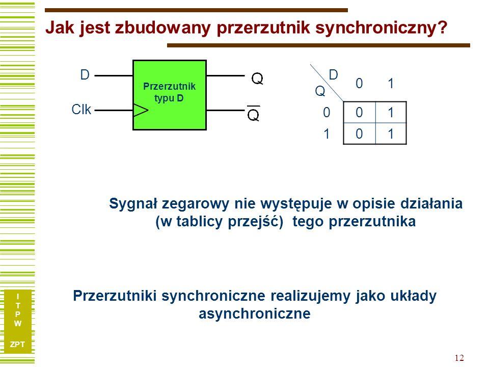 I T P W ZPT 12 Jak jest zbudowany przerzutnik synchroniczny? ? Przerzutnik typu D D Clk DQDQ 01 0 01 1 01 Przerzutniki synchroniczne realizujemy jako