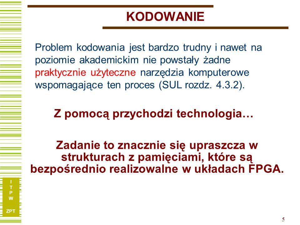 I T P W ZPT 5 Z pomocą przychodzi technologia… Problem kodowania jest bardzo trudny i nawet na poziomie akademickim nie powstały żadne praktycznie uży