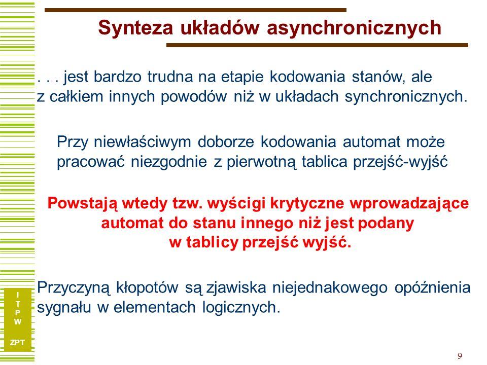I T P W ZPT 9 Synteza układów asynchronicznych... jest bardzo trudna na etapie kodowania stanów, ale z całkiem innych powodów niż w układach synchroni