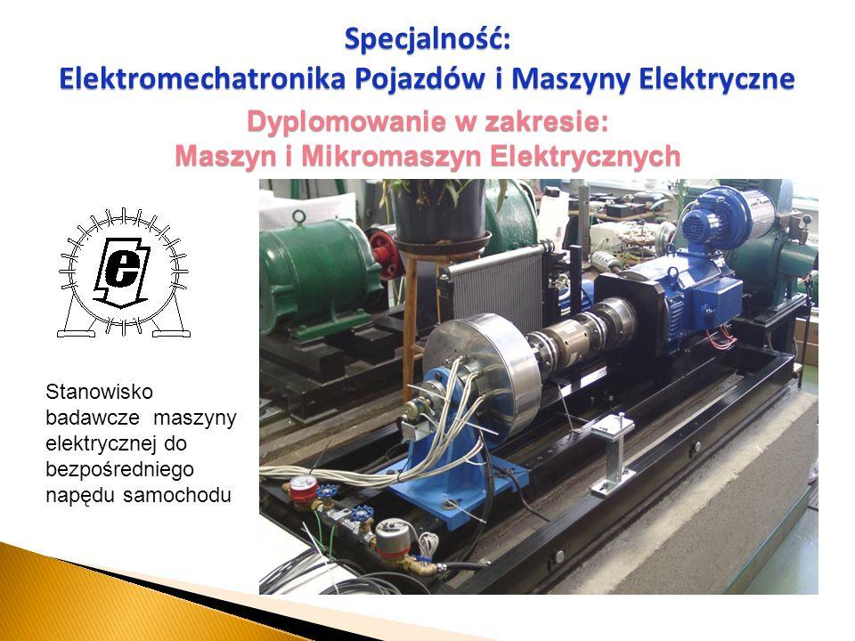 Dyplomowanie w zakresie: Maszyn i Mikromaszyn Elektrycznych Specjalność: Elektromechatronika Pojazdów i Maszyny Elektryczne Stanowisko badawcze maszyn
