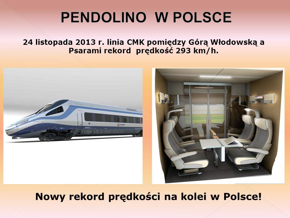 24 listopada 2013 r. linia CMK pomiędzy Górą Włodowską a Psarami rekord prędkość 293 km/h. Nowy rekord prędkości na kolei w Polsce!