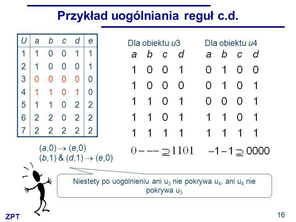ZPT 16 Przykład uogólniania reguł c.d.