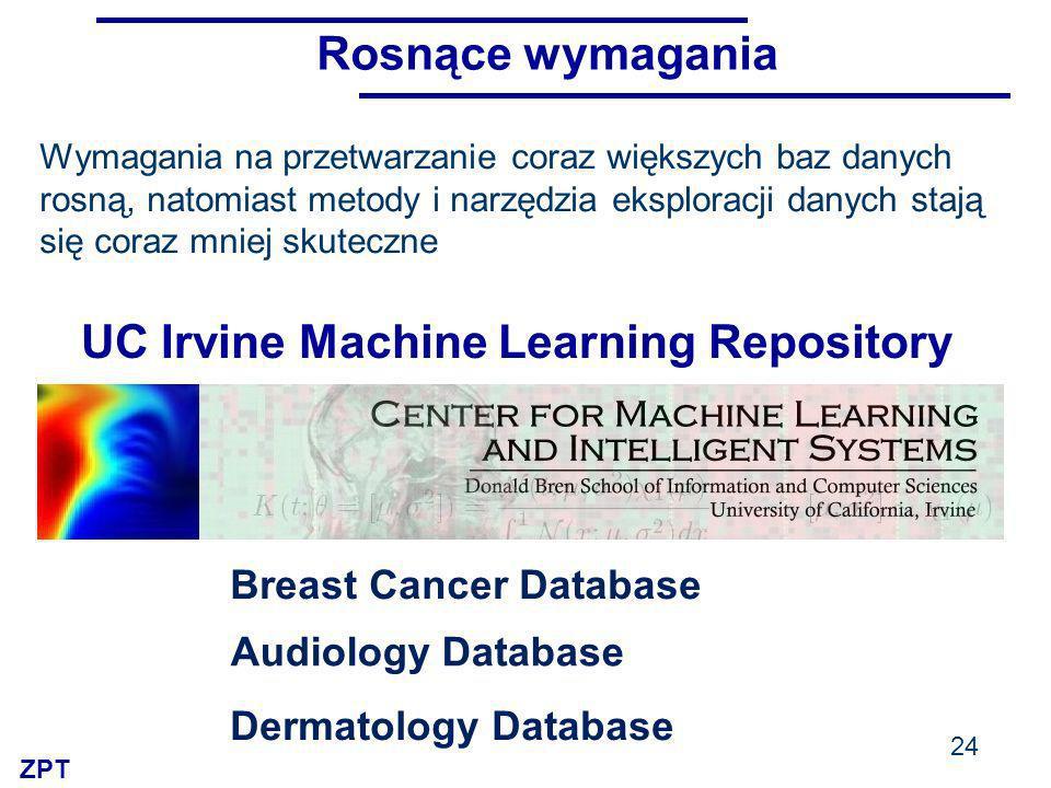 ZPT 24 UC Irvine Machine Learning Repository Breast Cancer Database Audiology Database Dermatology Database Wymagania na przetwarzanie coraz większych baz danych rosną, natomiast metody i narzędzia eksploracji danych stają się coraz mniej skuteczne Rosnące wymagania