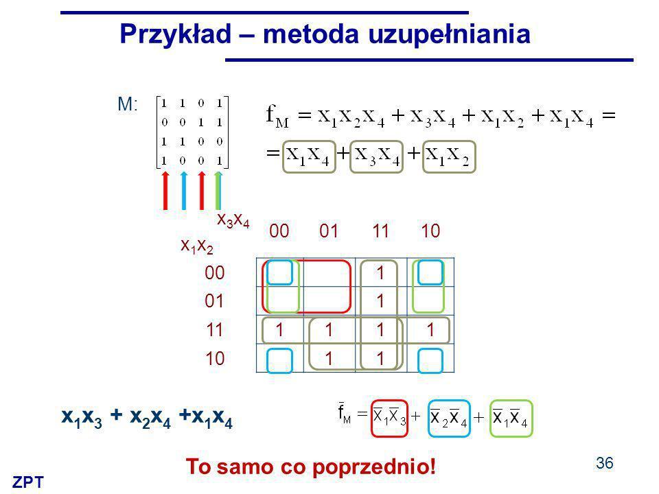 ZPT x3x4x1x2x3x4x1x2 00011110 00 1 01 1 111111 10 11 M: 36 Przykład – metoda uzupełniania x 1 x 3 + x 2 x 4 +x 1 x 4 To samo co poprzednio!