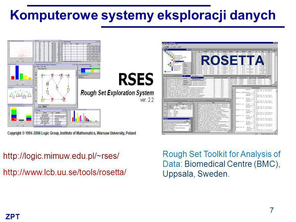ZPT Komputerowe systemy eksploracji danych 7 http://logic.mimuw.edu.pl/~rses/ Rough Set Toolkit for Analysis of Data: Biomedical Centre (BMC), Uppsala, Sweden.