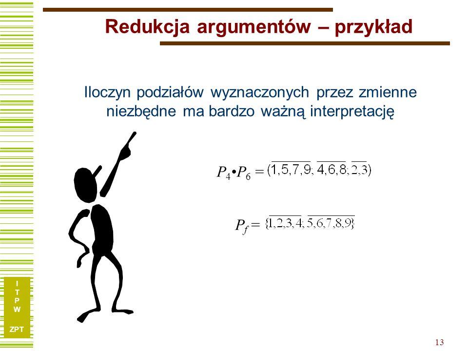 I T P W ZPT 12 Redukcja argumentów – przykład x1x1 x2x2 x3x3 x4x4 x5x5 x6x6 x7x7 f 110001010 210111100 311011100 411101110 501001011 610001101 7101000
