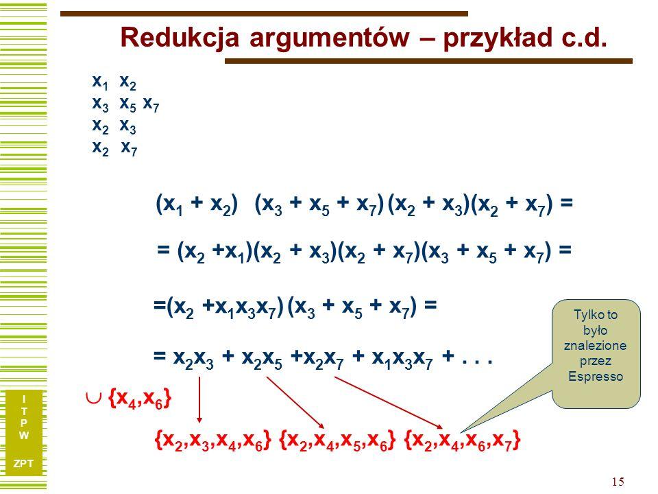 I T P W ZPT 14 Redukcja argumentów – przykład c.d. 1, 5, 7, 9 4, 6, 8 Tu obliczamy minimalne pokrycie kolumnowe 1, 5 1, 7 1, 9 4, 6 4, 8 x 1 x 2 x 3 x