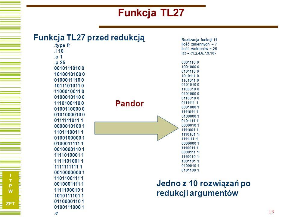 I T P W ZPT 18 Przykład z Synteza układów logicznych str 65 Funkcja TL27 10 argumentów.type fr.i 10.o 1.p 25 0010111010 0 1010010100 0 0100011110 0 10