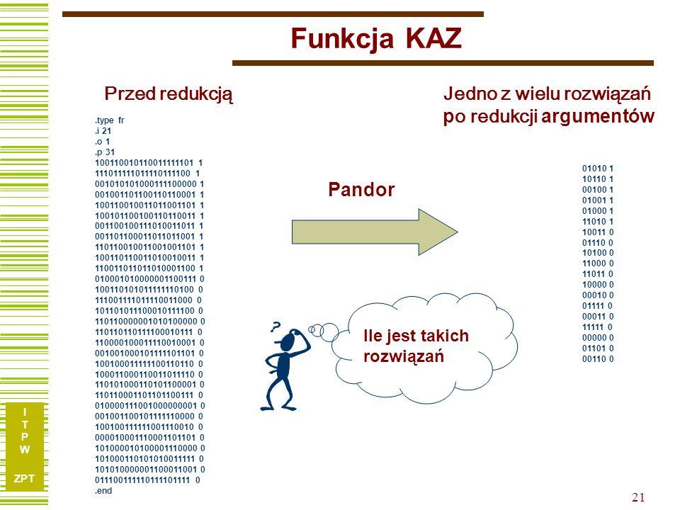 I T P W ZPT 20 Przykład TL27 Funkcja 10 argumentów, 25 wektorów w TP Wynik Pandora po RedArg – 7 argumentów, 5 termów Wynik Espresso – 9 argumentów, 6