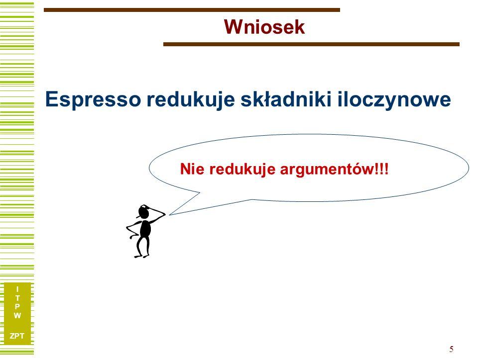 I T P W ZPT 5 Wniosek Espresso redukuje składniki iloczynowe Nie redukuje argumentów!!!