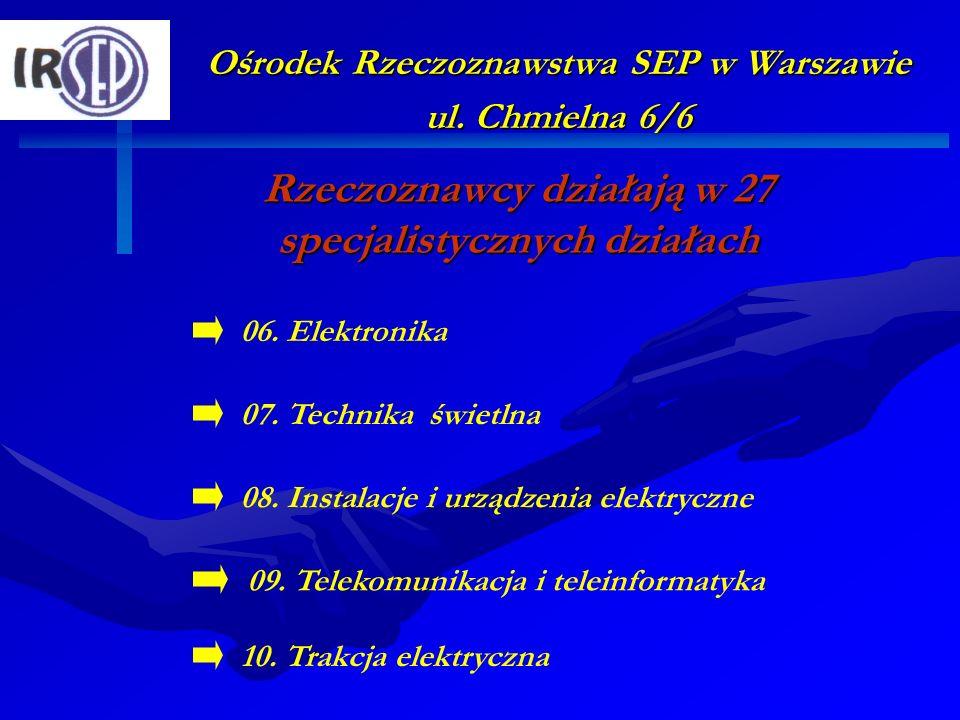 Ośrodek Rzeczoznawstwa SEP w Warszawie ul. Chmielna 6/6 Rzeczoznawcy działają w 27 specjalistycznych działach 07. Technika świetlna 09. Telekomunikacj