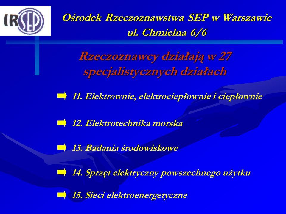 Ośrodek Rzeczoznawstwa SEP w Warszawie ul. Chmielna 6/6 Rzeczoznawcy działają w 27 specjalistycznych działach 12. Elektrotechnika morska 14. Sprzęt el