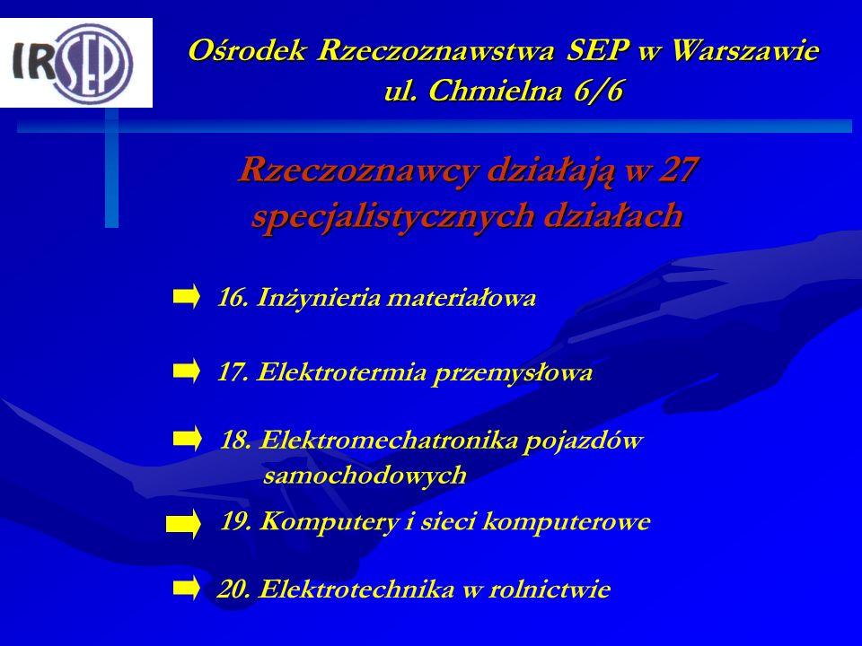 Ośrodek Rzeczoznawstwa SEP w Warszawie ul. Chmielna 6/6 Rzeczoznawcy działają w 27 specjalistycznych działach 17. Elektrotermia przemysłowa 19. Komput