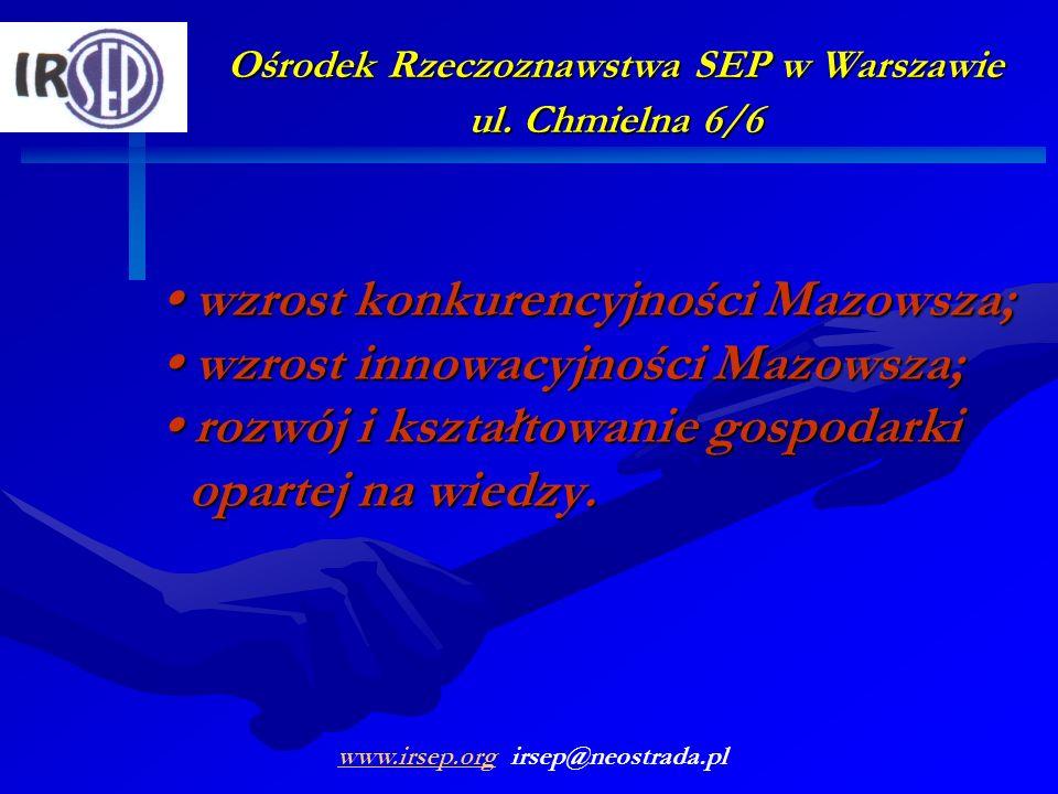 Ośrodek Rzeczoznawstwa SEP w Warszawie ul. Chmielna 6/6 wzrost konkurencyjności Mazowsza; wzrost innowacyjności Mazowsza; rozwój i kształtowanie gospo