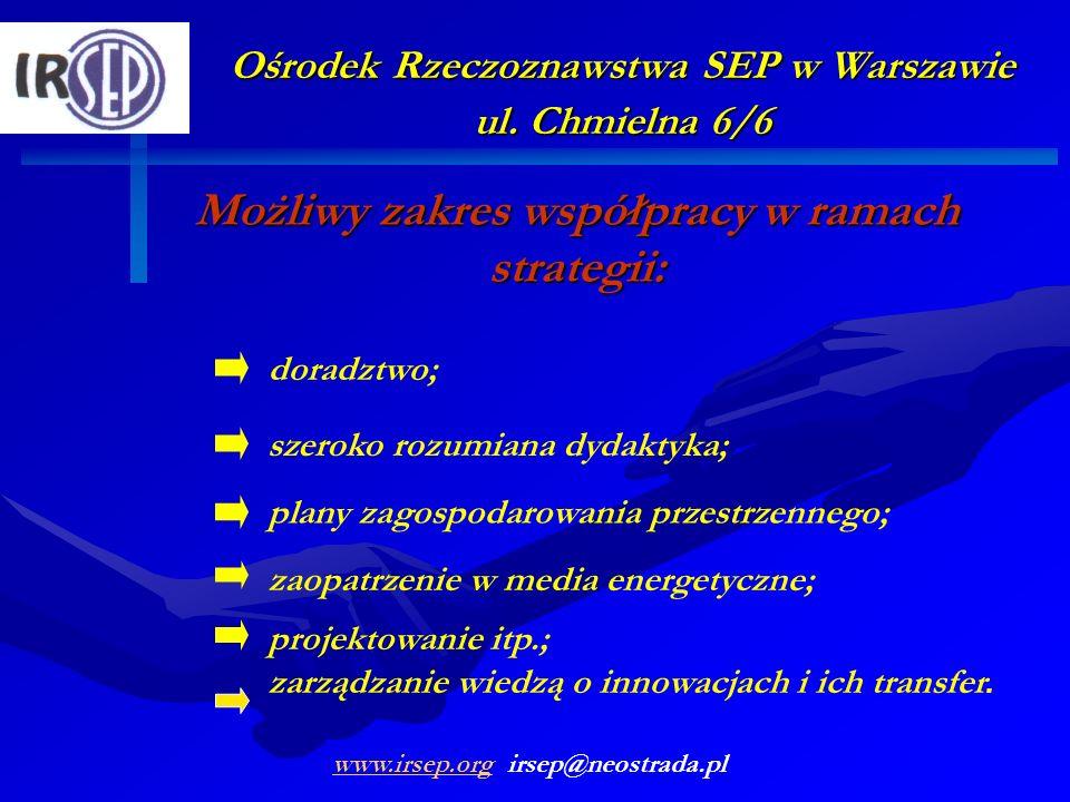Ośrodek Rzeczoznawstwa SEP w Warszawie ul. Chmielna 6/6 Możliwy zakres współpracy w ramach strategii: szeroko rozumiana dydaktyka; doradztwo; plany za