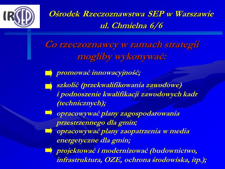 Ośrodek Rzeczoznawstwa SEP w Warszawie ul. Chmielna 6/6 Co rzeczoznawcy w ramach strategii mogliby wykonywać: szkolić (przekwalifikowania zawodowe) i
