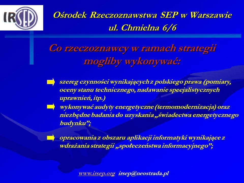 Ośrodek Rzeczoznawstwa SEP w Warszawie ul. Chmielna 6/6 Co rzeczoznawcy w ramach strategii mogliby wykonywać: wykonywać audyty energetyczne (termomode