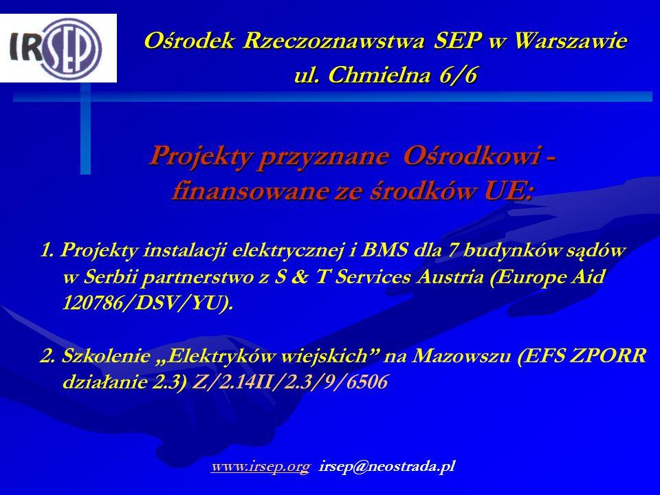 Ośrodek Rzeczoznawstwa SEP w Warszawie ul. Chmielna 6/6 Projekty przyznane Ośrodkowi - finansowane ze środków UE: 1. Projekty instalacji elektrycznej