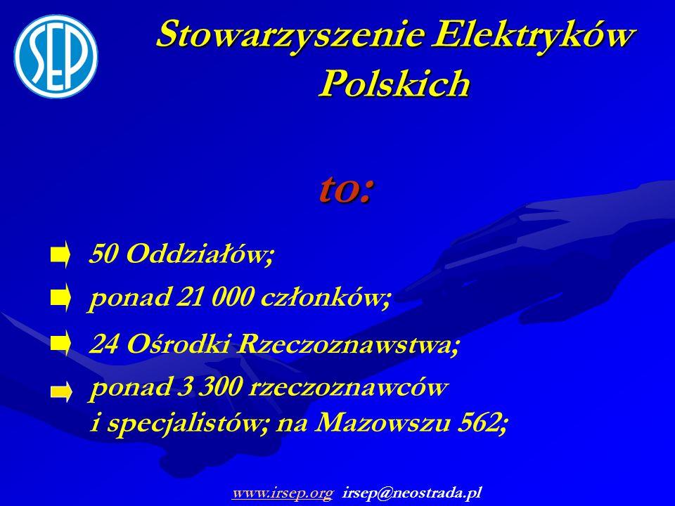 Stowarzyszenie Elektryków Polskich to: ponad 21 000 członków; 50 Oddziałów; 24 Ośrodki Rzeczoznawstwa; ponad 3 300 rzeczoznawców i specjalistów; na Ma