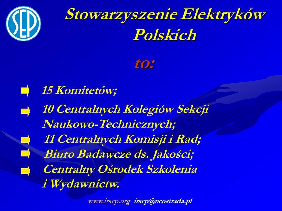 Stowarzyszenie Elektryków Polskich to: 11 Centralnych Komisji i Rad; Biuro Badawcze ds. Jakości; 10 Centralnych Kolegiów Sekcji Naukowo-Technicznych;