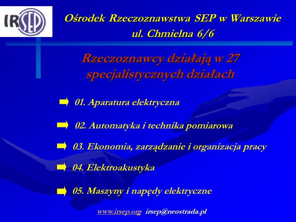 Ośrodek Rzeczoznawstwa SEP w Warszawie ul. Chmielna 6/6 Rzeczoznawcy działają w 27 specjalistycznych działach 01. Aparatura elektryczna 02. Automatyka