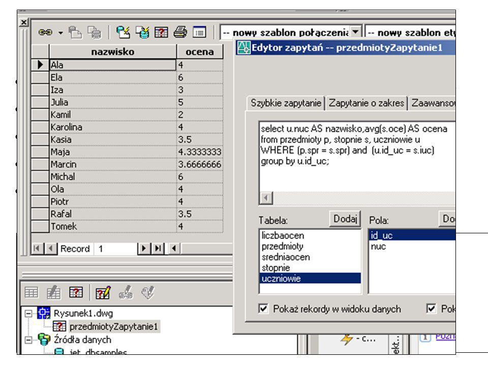 Ale to jest poprawne: SELECT u.nuc AS nazwisko,avg(s.oce) AS ocena FROM przedmioty p, stopnie s, uczniowie u WHERE (p.spr = s.spr) AND (u.id_uc = s.iuc) GROUP BY u.id_uc; SELECT u.nuc AS nazwisko,avg(s.oce) AS ocena FROM ((przedmioty p JOIN stopnie s ON (p.spr = s.spr)) JOIN uczniowie u ON u.id_uc = s.iuc) GROUP BY u.id_uc;