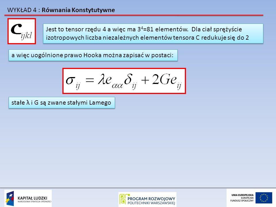 WYKŁAD 4 : Równania Konstytutywne Jest to tensor rzędu 4 a więc ma 3 4 =81 elementów.