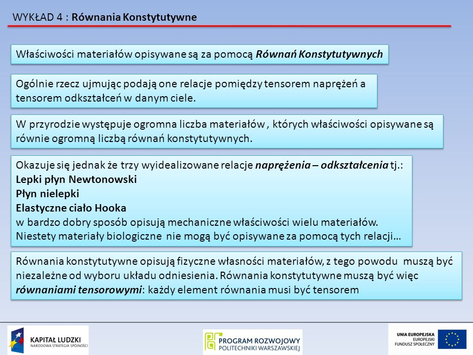 WYKŁAD 4 : Równania Konstytutywne Właściwości materiałów opisywane są za pomocą Równań Konstytutywnych Ogólnie rzecz ujmując podają one relacje pomiędzy tensorem naprężeń a tensorem odkształceń w danym ciele.