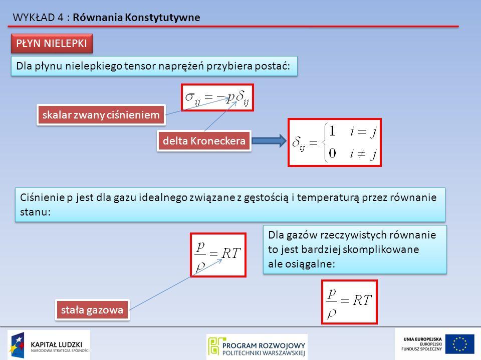 WYKŁAD 4 : Równania Konstytutywne przypomnijmy że równanie ruchu dla ośrodka ciągłego : równanie ruchu Eulera jeżeli podstawimy wyrażenie na naprężenia korzystając z równania konstytutywnego: