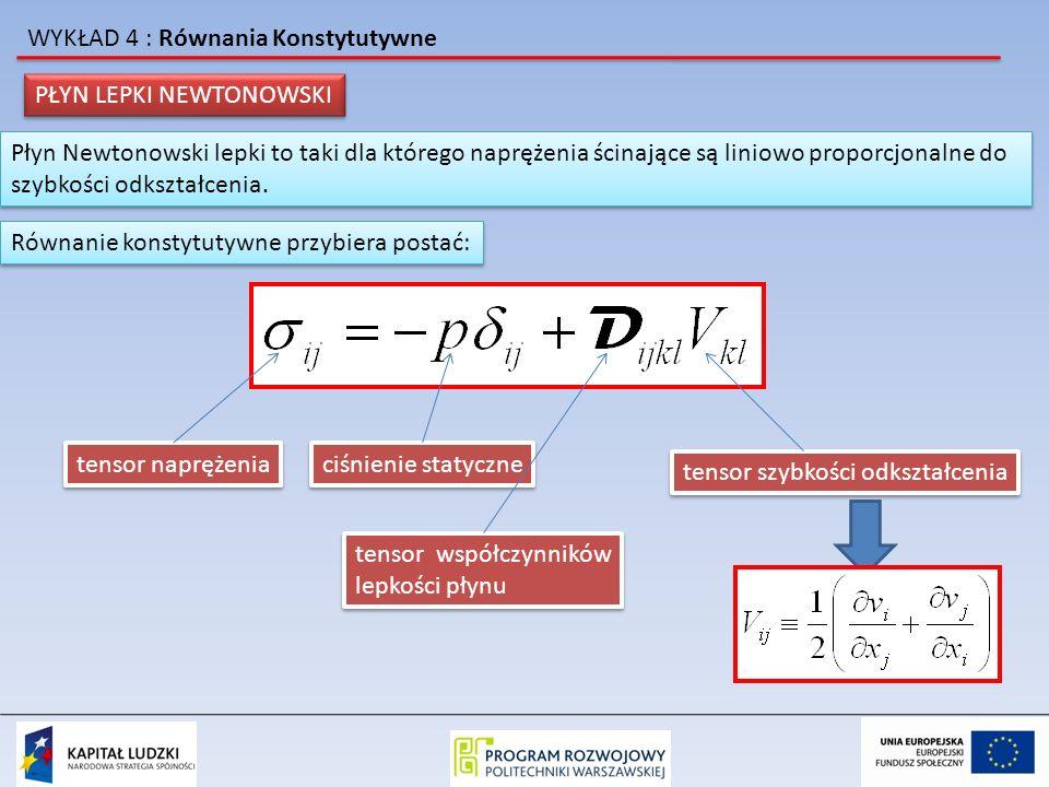 WYKŁAD 4 : Równania Konstytutywne dla płynów Newtonowskich zakładamy, że elementy tensora mogą zależeć od temperatury ale nie mogą zależeć od naprężeń i od szybkości deformacji.