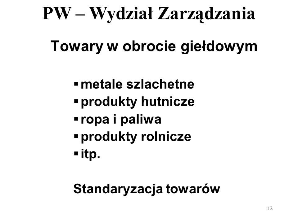PW – Wydział Zarządzania 12 Towary w obrocie giełdowym metale szlachetne produkty hutnicze ropa i paliwa produkty rolnicze itp. Standaryzacja towarów