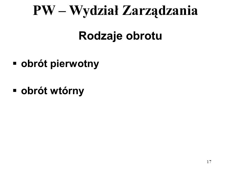PW – Wydział Zarządzania 17 Rodzaje obrotu obrót pierwotny obrót wtórny