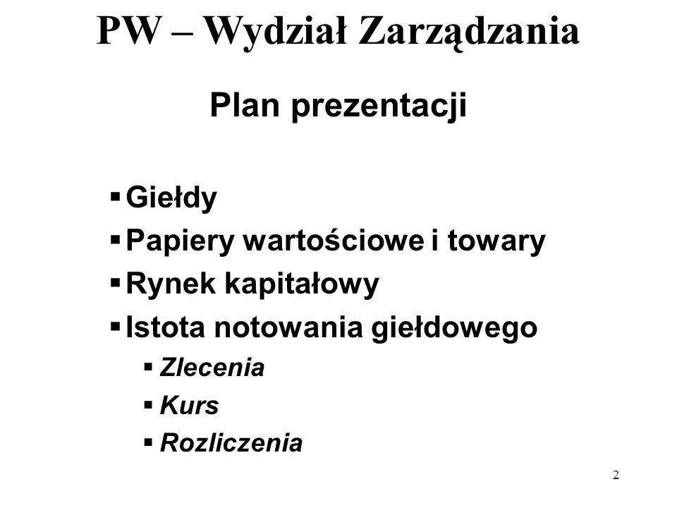 PW – Wydział Zarządzania 2 Plan prezentacji Giełdy Papiery wartościowe i towary Rynek kapitałowy Istota notowania giełdowego Zlecenia Kurs Rozliczenia