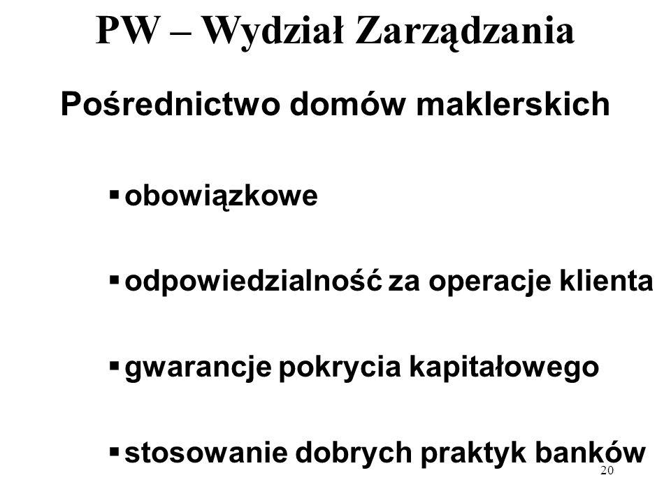 PW – Wydział Zarządzania 20 Pośrednictwo domów maklerskich obowiązkowe odpowiedzialność za operacje klienta gwarancje pokrycia kapitałowego stosowanie