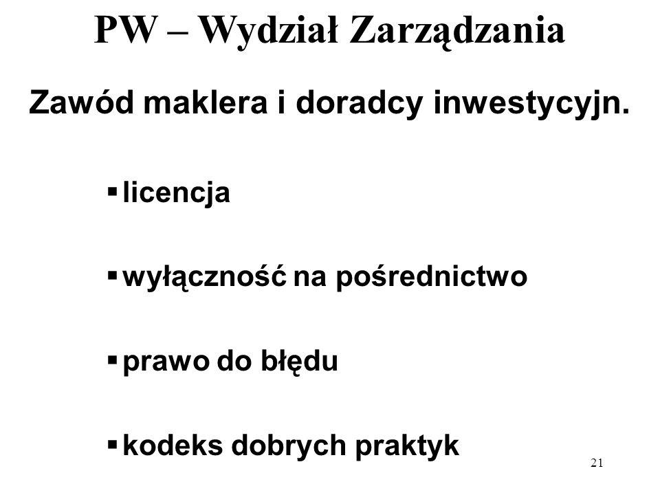 PW – Wydział Zarządzania 21 Zawód maklera i doradcy inwestycyjn. licencja wyłączność na pośrednictwo prawo do błędu kodeks dobrych praktyk