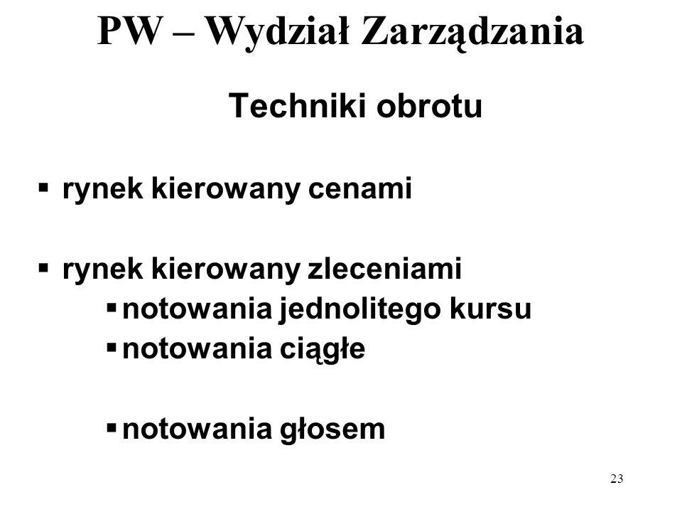 PW – Wydział Zarządzania 23 Techniki obrotu rynek kierowany cenami rynek kierowany zleceniami notowania jednolitego kursu notowania ciągłe notowania g