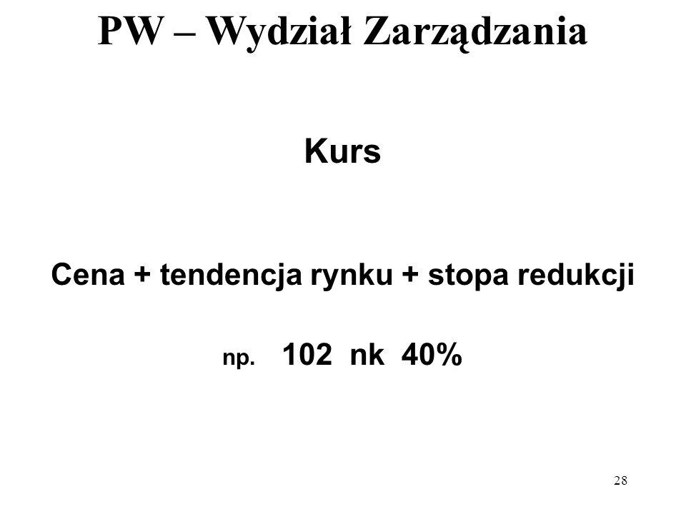 PW – Wydział Zarządzania 28 Kurs Cena + tendencja rynku + stopa redukcji np. 102 nk 40%