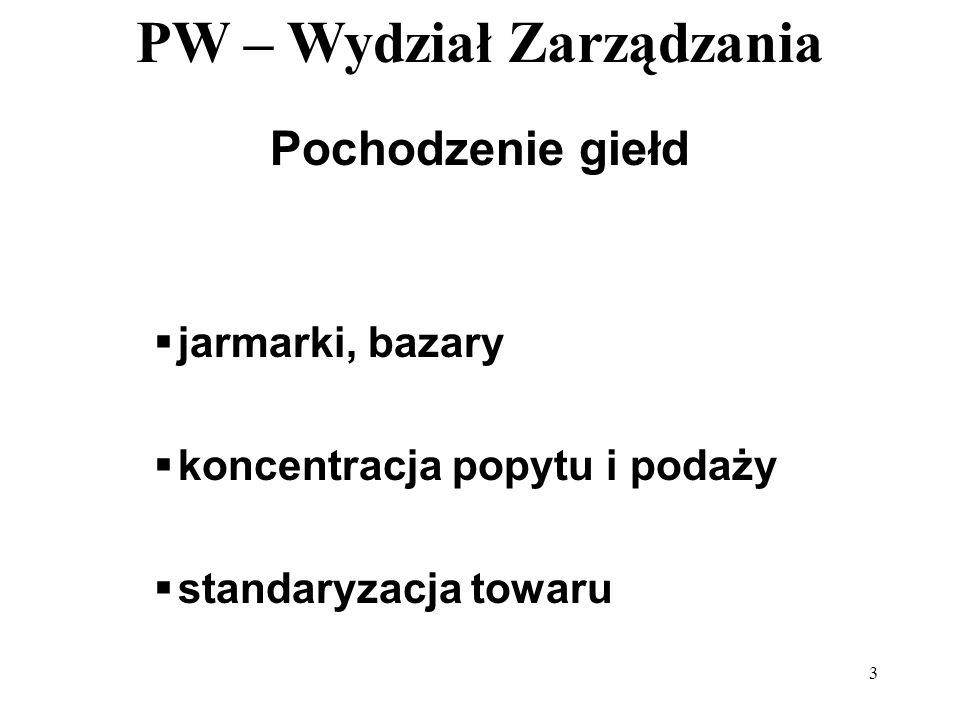 PW – Wydział Zarządzania 3 Pochodzenie giełd jarmarki, bazary koncentracja popytu i podaży standaryzacja towaru