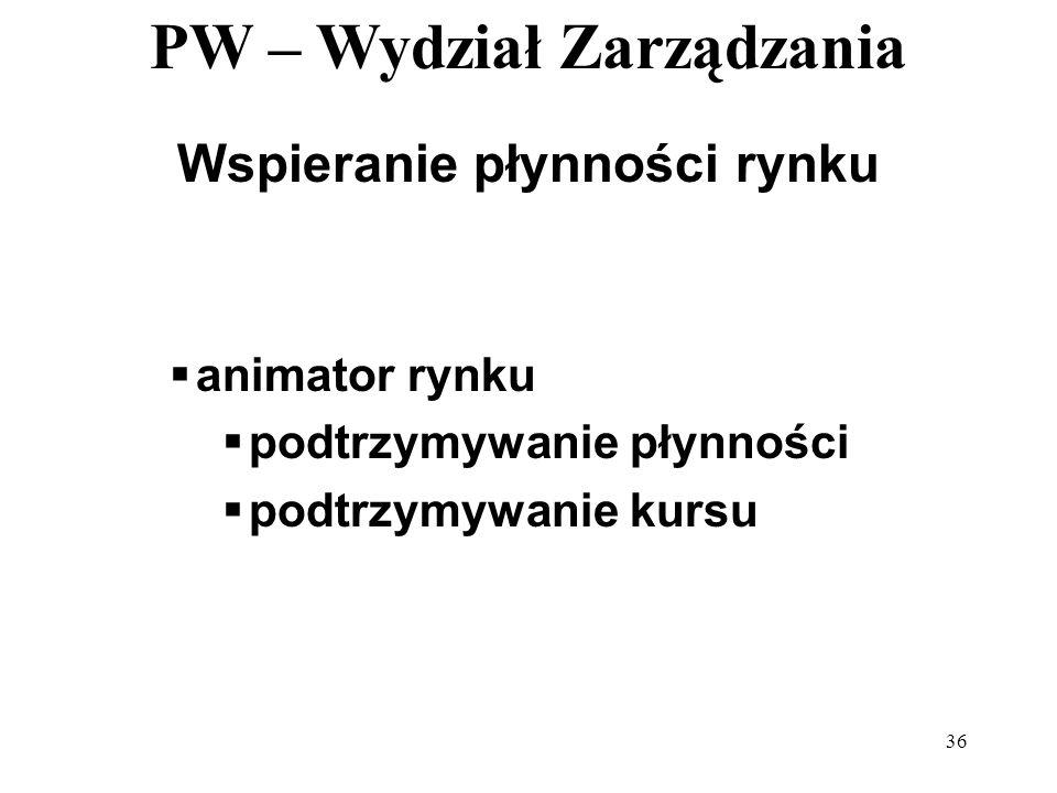PW – Wydział Zarządzania 36 Wspieranie płynności rynku animator rynku podtrzymywanie płynności podtrzymywanie kursu