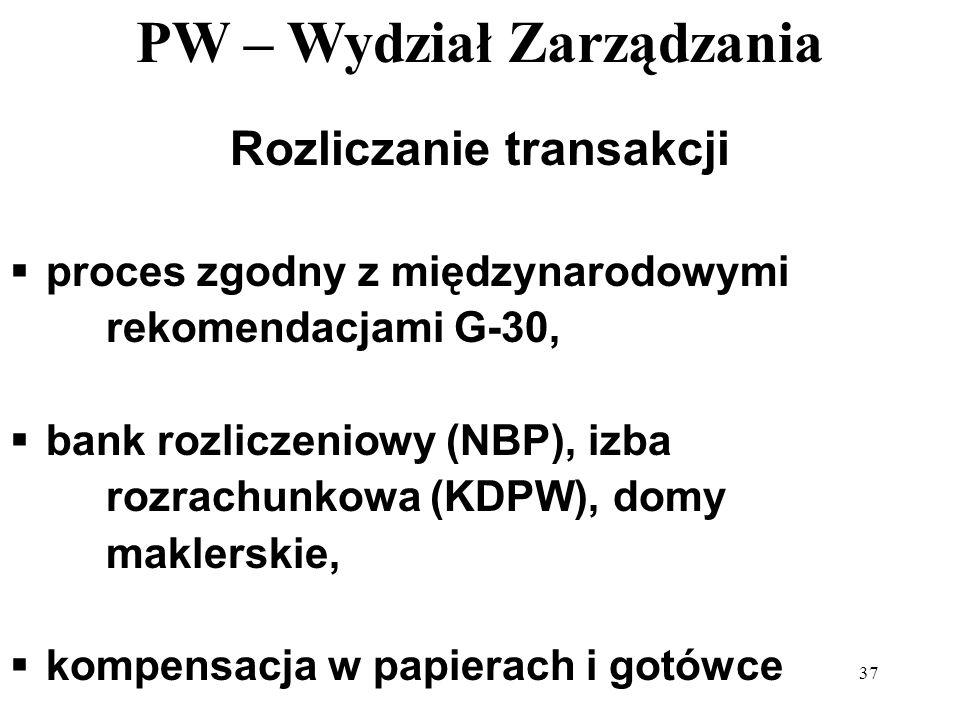 PW – Wydział Zarządzania 37 Rozliczanie transakcji proces zgodny z międzynarodowymi rekomendacjami G-30, bank rozliczeniowy (NBP), izba rozrachunkowa