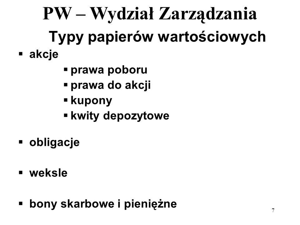 PW – Wydział Zarządzania 8 Rodzaje papierów wartościowych wg praw majątkowych udziałowe wierzytelnościowe towarowe (handlowe)