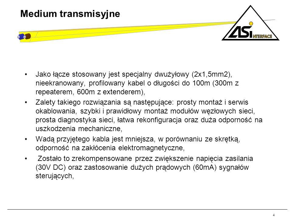 Jako łącze stosowany jest specjalny dwużyłowy (2x1,5mm2), nieekranowany, profilowany kabel o długości do 100m (300m z repeaterem, 600m z extenderem),