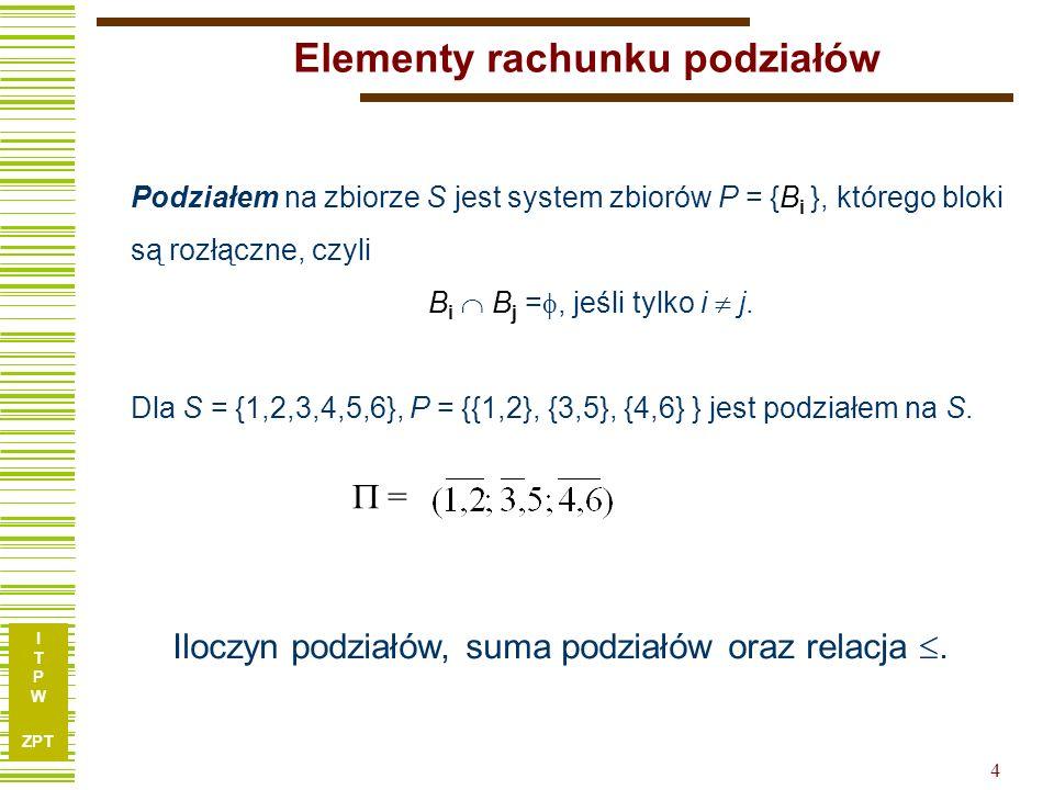 I T P W ZPT 4 Elementy rachunku podziałów Podziałem na zbiorze S jest system zbiorów P = {B i }, którego bloki są rozłączne, czyli B i B j =, jeśli tylko i j.