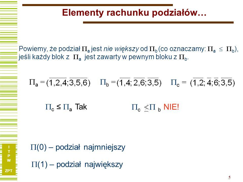 I T P W ZPT 5 Elementy rachunku podziałów… Powiemy, że podział a jest nie większy od b (co oznaczamy: a b ), jeśli każdy blok z a jest zawarty w pewnym bloku z b.
