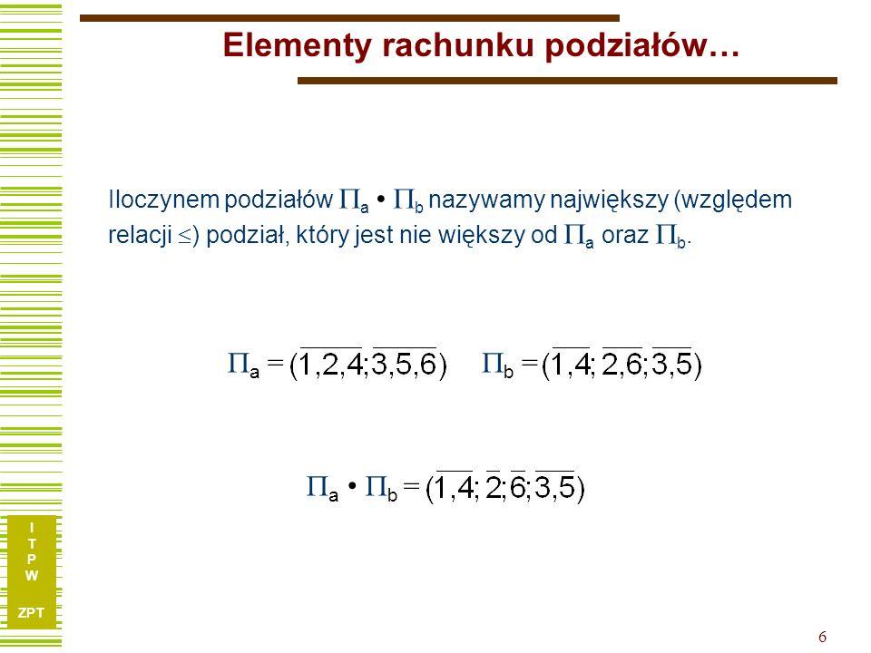 I T P W ZPT 6 Elementy rachunku podziałów… b = Iloczynem podziałów a b nazywamy największy (względem relacji ) podział, który jest nie większy od a oraz b.