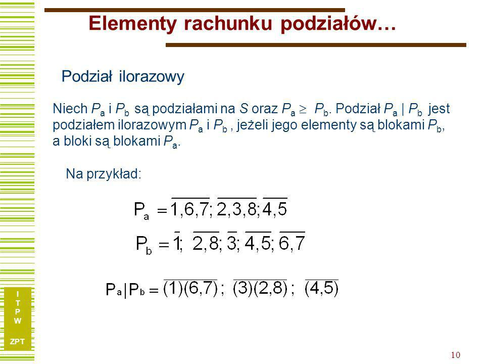 I T P W ZPT 9 Elementy rachunku podziałów… b = Iloczynem podziałów a b nazywamy największy (względem relacji ) podział, który jest nie większy od a or