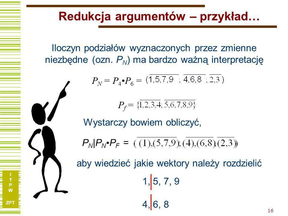 I T P W ZPT 15 Wyjaśnienie… x1x1 x2x2 x3x3 x4x4 x5x5 x6x6 x7x7 f 110001010 210111100 311011100 411101110 501001011 610001101 710100001 810101101 91110
