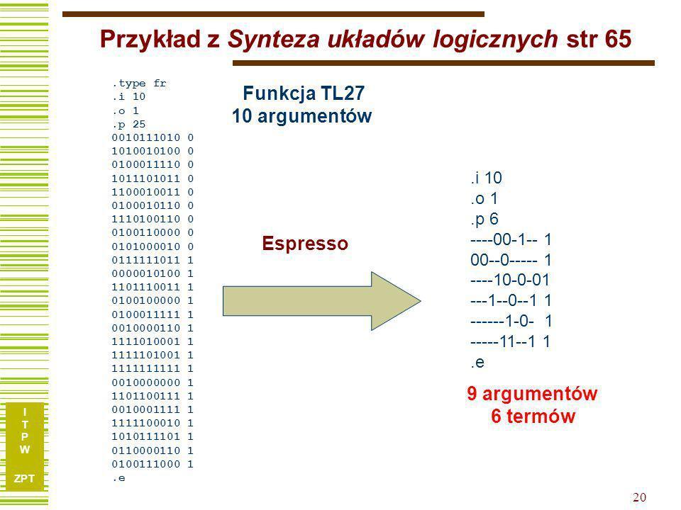 I T P W ZPT 19...a le gdybyśmy wiedzieli o tym wcześniej, że x1x1 x2x2 x3x3 x4x4 x5x5 x6x6 x7x7 f 110001010 210111100 311011100 411101110 501001011 61