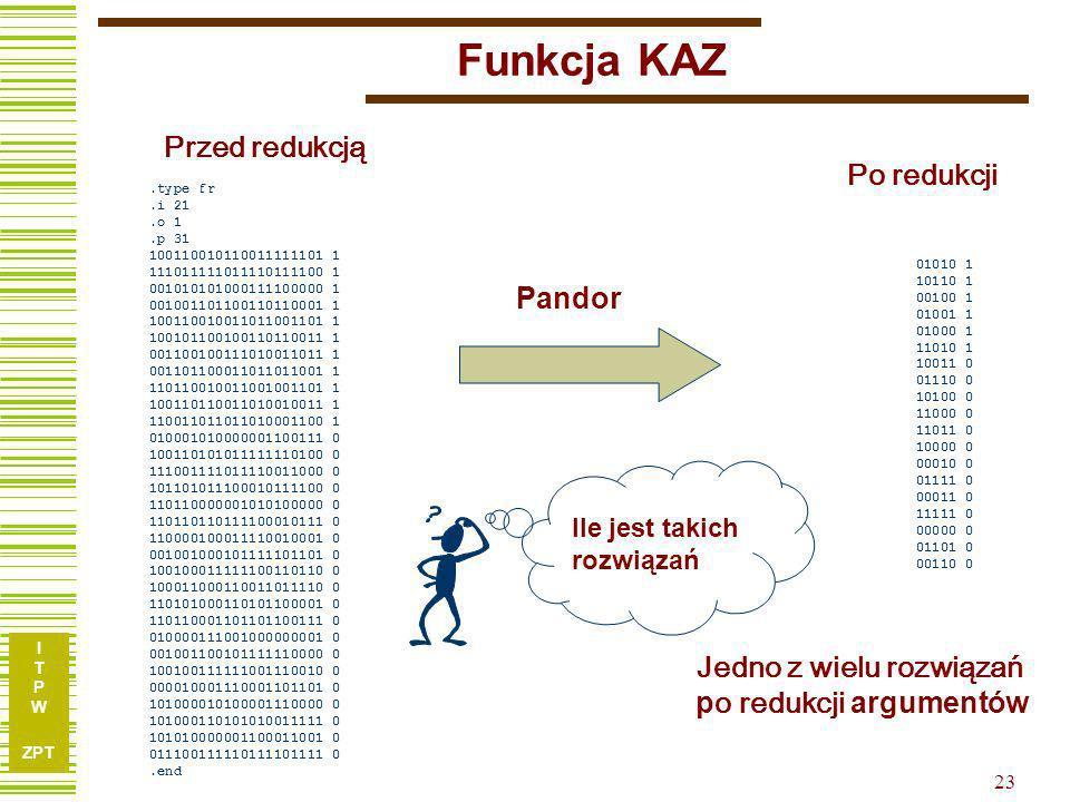 I T P W ZPT 22 Przykład TL27 Wynik Pandora po RedArg i Ekspasji: Wynik Espresso: 7 argumentów, 5 termów 9 argumentów, 6 termów
