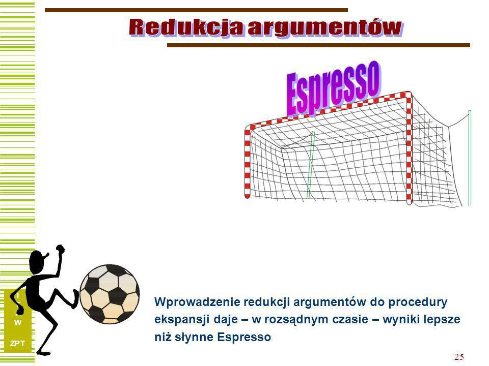 I T P W ZPT 24 Przykład KAZ Silnie nieokreślona funkcja 21 argumentów, 31 wektorów w TP Wynik Espresso – 9 argumentów, 3 termy Wynik Pandora – 5 argum